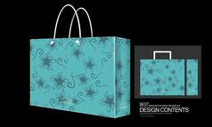 蓝色漂亮的动植物花纹手提袋