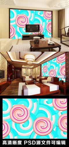 卡通糖果棒棒糖甜甜圈电视背景墙