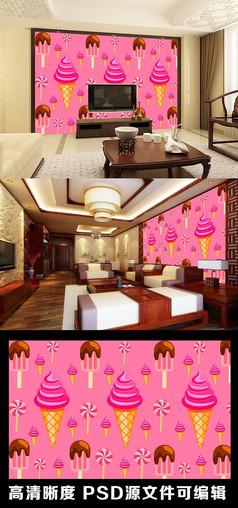 卡通糖果棒棒糖甜甜圈冰淇淋电视背景墙