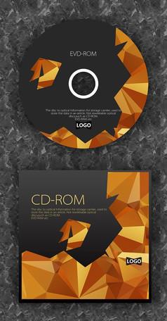 钻石纹时尚黄边质感光盘设计