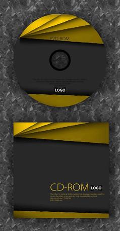 科技层次感黄色质感光盘设计