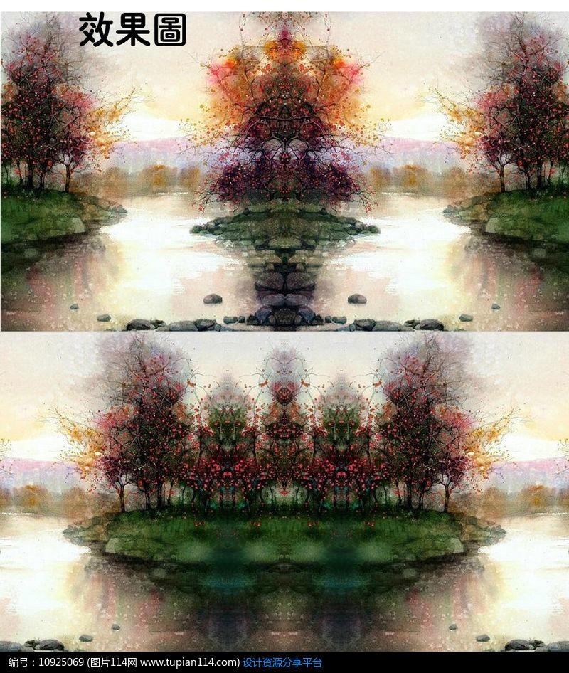 [原创] 湖上秋色风景水彩画特效视频