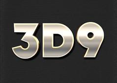 黄色3D金属质感立体字
