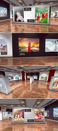 3d效果照片艺术展厅ae模板