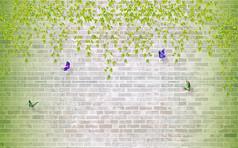 绿叶藤蔓浪漫紫蝶3D绿色自然清新电视背景墙