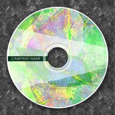 炫彩绿色树叶光盘贴纸设计