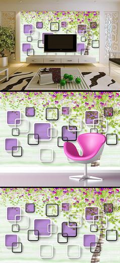 3D手绘花卉花朵方框电视背景墙