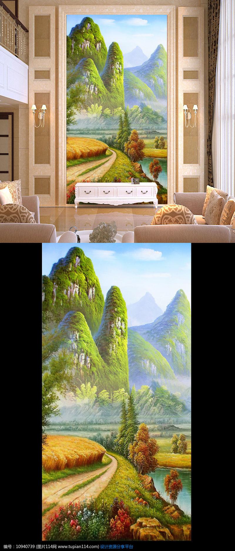 [原创] 油画山水画风景画玄关壁画