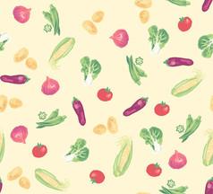 涂鸦风格的青菜PSD分层平铺图案