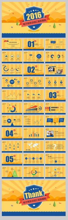 黄色电子商务总结汇报模板PPT