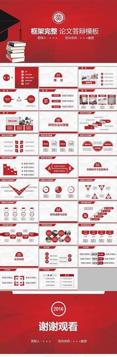 紅色簡約實用大學生畢業論文答辯動態開題報告PPT模板