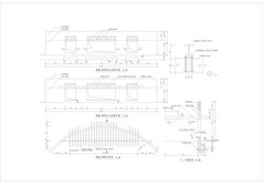 弧墙廊架平立面图CAD