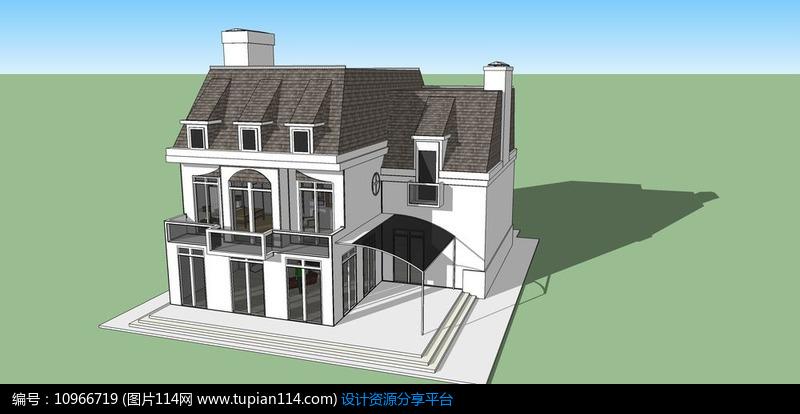 [原创] 欧式现代风简约灰白色双层别墅模型