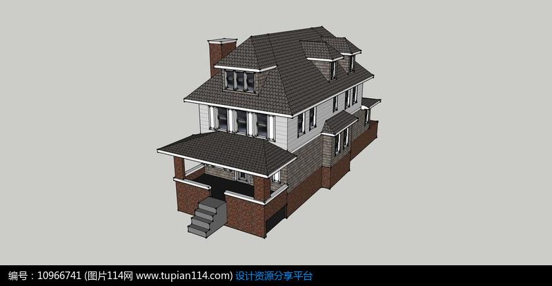 [原创] 欧式独栋灰瓦白墙带阁楼烟囱双层别墅模型