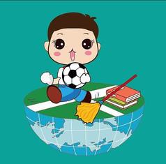 卡通手绘地球上的小男孩