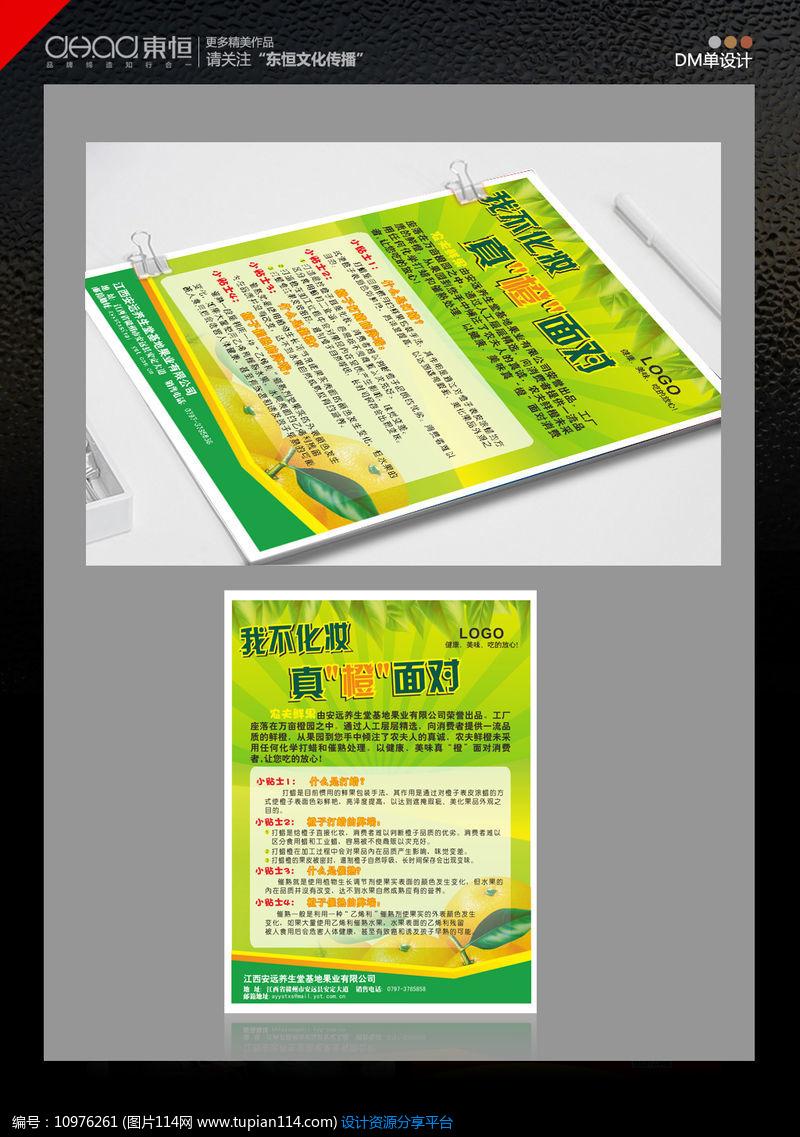 绿色鲜橙水果宣传单页海报设计设计素材免费下载_宣传图片