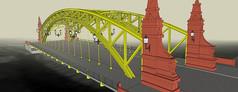 跨江钢架人车双行悬索桥