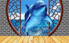 3D创意浪漫大型立体空间海豚