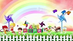 唯美彩虹风车卡通背景视频