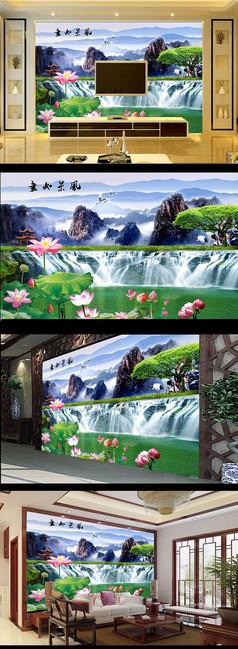 自然风景荷花图电视背景墙