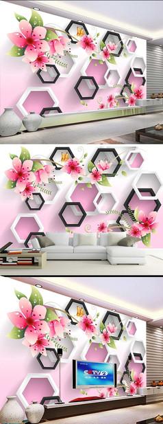 蝶恋花手绘花卉立体背景墙