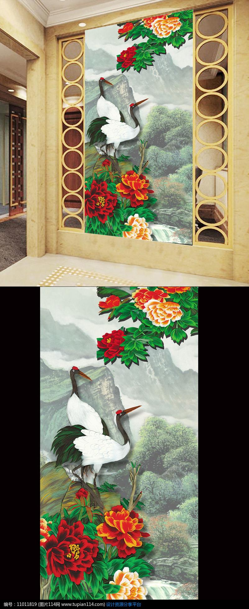 [原创] 国画仙鹤图山水画玄关壁画