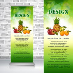 菠萝苹果橙子农产品绿色水果易拉宝