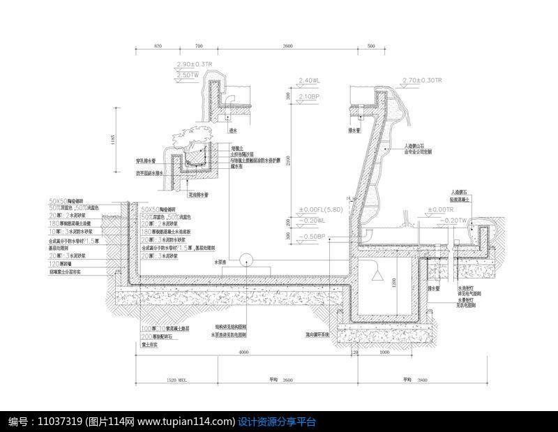 水池假山CAD导出3d成CAD卡立面很图片