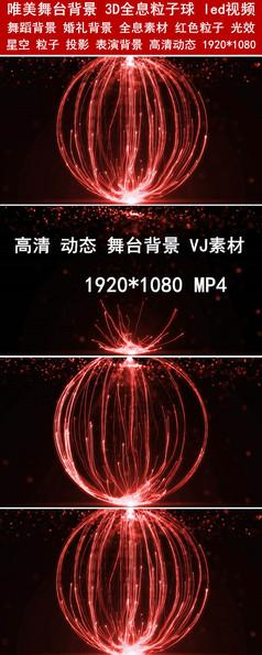 裸眼3D全息素材全息粒子球舞台背景led视频素材