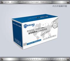 蓝色科技监控摄像头包装彩盒平面图