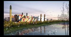电厂景观效果图