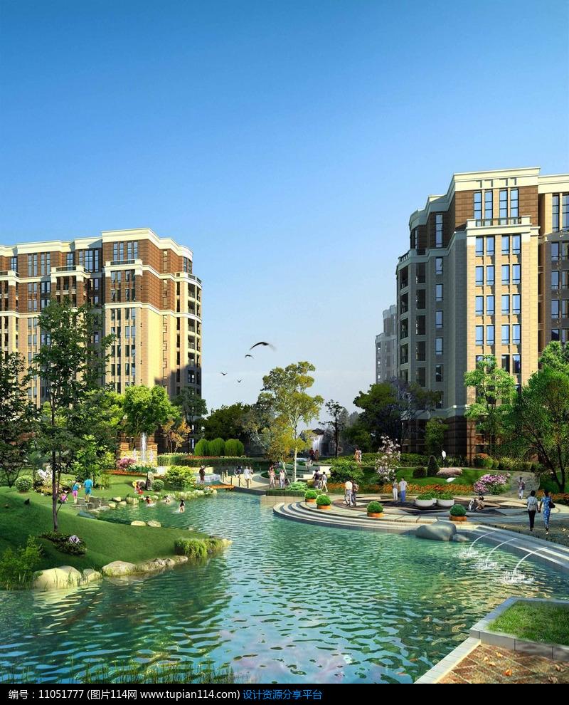 相关素材 欧式喷泉草坡小品公园广场河道河水水景铺装