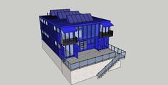 蓝色集装箱改造建筑