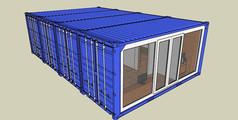 蓝色集装箱内居