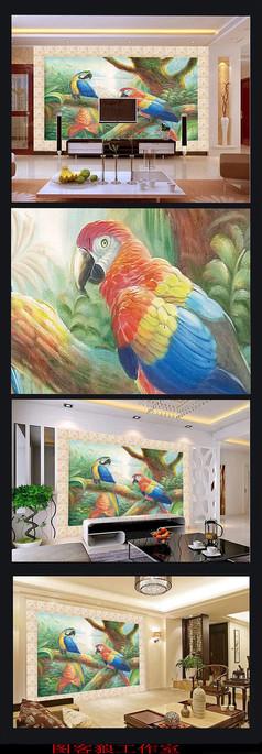 欧式手绘鹦鹉油画