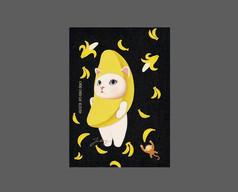 香蕉猫咪笔袋图案