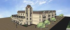 欧式幼儿园建筑3D模型