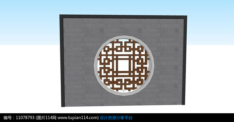 [原创] 中式圆形木质方格纹景墙