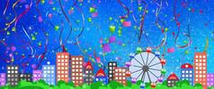 唯美卡通城市爱情背景视频