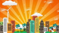 卡通城市背景视频素材