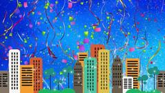 都市爱情城市背景舞台视频