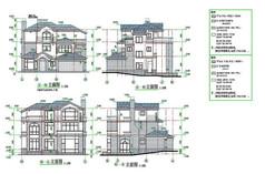 西式别墅立面CAD图
