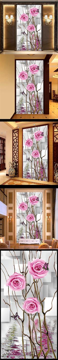 立体红玫瑰水花干枝玄关走廊背景装饰