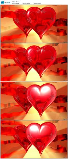 红色爱心婚礼视频素材
