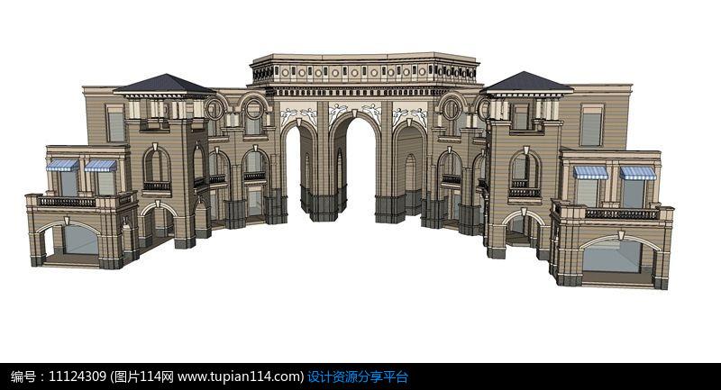 相关素材 欧式门拱形门大门人行大门车行大门su大门大门模型草图大师