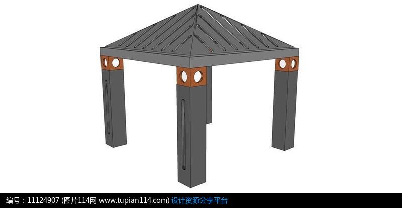 [原创] 现代钢结构亭子