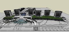 椭圆形建筑模型带景观