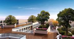 现代简洁屋顶绿化