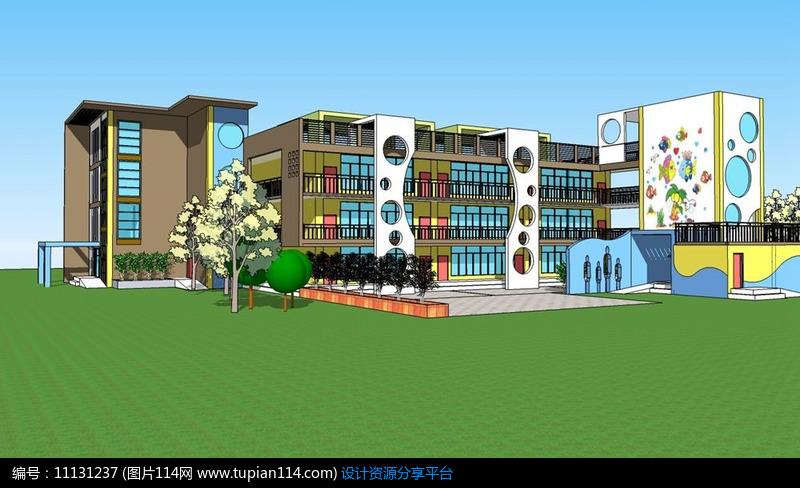 海洋世界主题幼儿园,3d建筑模型免费下载,3dmax建筑