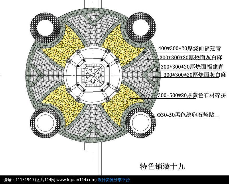 欧式带花钵圆形铺装经典图案